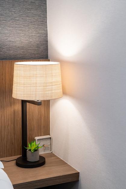 Beautiful lamp decoration in bedroom in terior Premium Photo