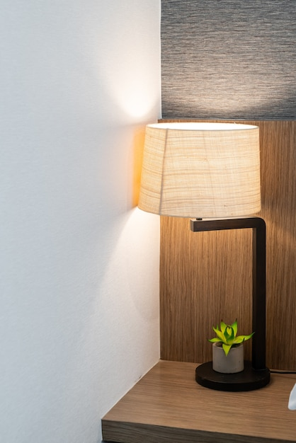 Beautiful lamp decoration in bedroom in terior Premium Photo