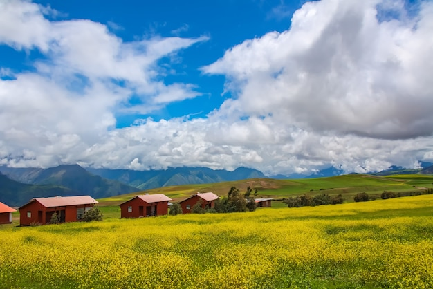 Beautiful landscape of fields, meadows and mountains in peru, south america Premium Photo