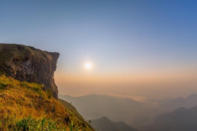 Beautiful landscape in the morning of phu chi fa national park. chiang rai , thailand Premium Photo