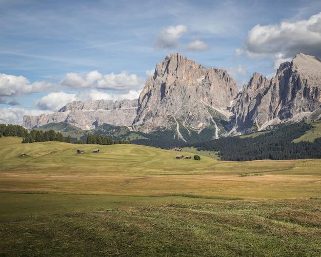 Bellissimo paesaggio del sassopiatto a compatsch italia Foto Gratuite
