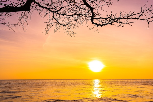 Beautiful landscape of sea ocean with silhouette coconut palm tree at sunset or sunrise Free Photo