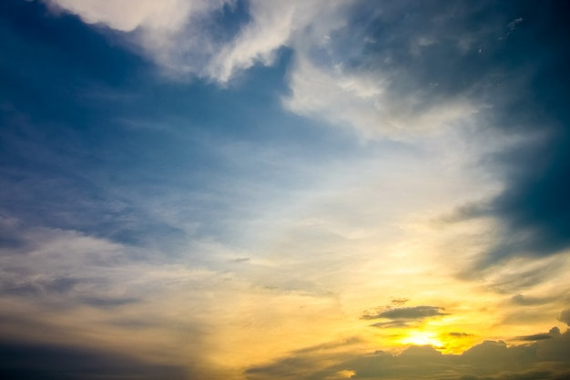 Beautiful landscape with sunset in the sky Premium Photo