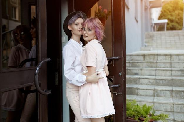 Beautiful lesbian couple hugging. Premium Photo
