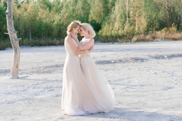 砂浜の美しいレズビアンのカップル Premium写真