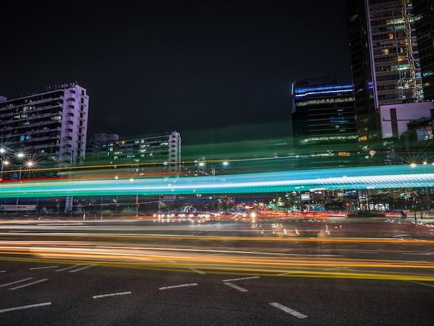 Beautiful light trails on the road Premium Photo