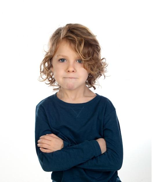 Premium Photo Beautiful Little Boy With Blond Long Hair