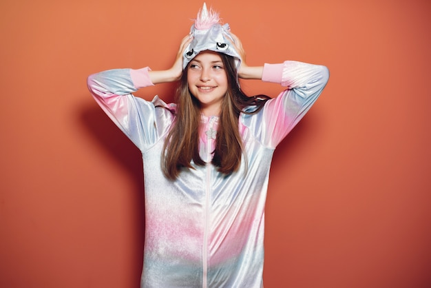 Beautiful little girl in a cute pajamas Free Photo