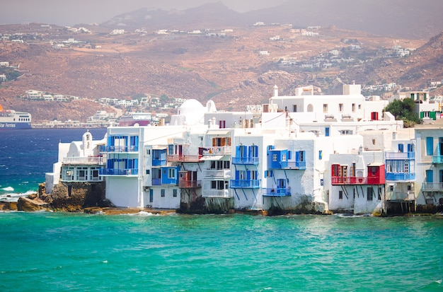 Beautiful little venice in mykonos island on greece, cyclades Premium Photo
