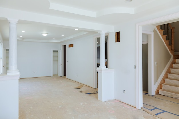 Beautiful living room new home construction interior drywall and finish details Premium Photo