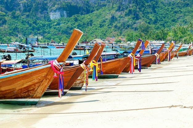 Beautiful long beach, phi phi island, thailand. tropical landscape. travel concept. Premium Photo