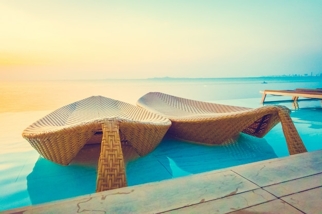 Beautiful luxury hotel swimming pool resort Free Photo