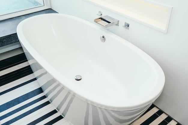 Beautiful luxury white bathtub decoration interior of bathroom Free Photo