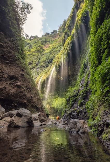 Beautiful madakaripura waterfall flowing in rocky valley Premium Photo