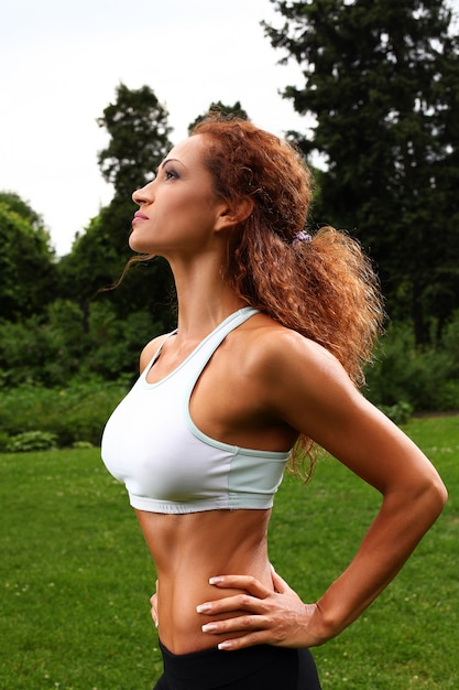 Beautiful middleaged woman working out Free Photo