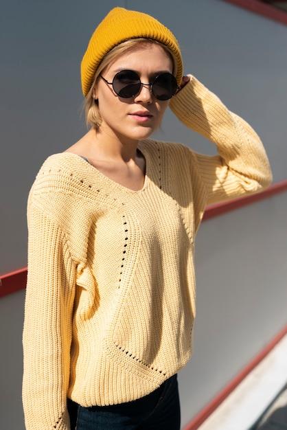Beautiful model in casual wear Free Photo