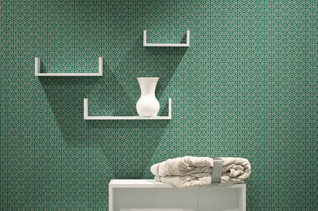 추상 벽에 아름 다운 현대 3 화이트 선반. 무료 사진