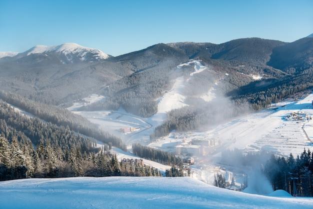 Beautiful morning landscape, nature, ski slopes, ski resort in the winter Premium Photo