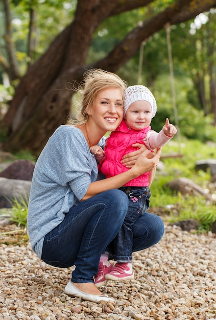 Beautiful mother with daughter Free Photo