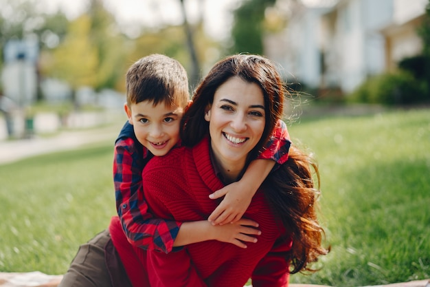 Beautiful mother with little son Free Photo