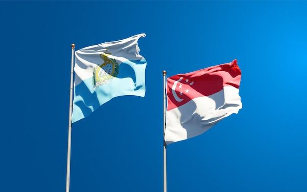 サンマリノとシンガポールの美しい国旗を一緒に Premium写真