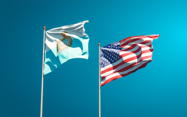 サンマリノとアメリカの美しい国旗を一緒に Premium写真