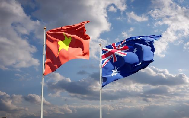 Красивые национальные государственные флаги вьетнама и австралии вместе Premium Фотографии