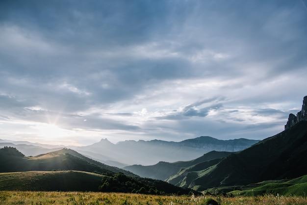 Beautiful natural landscape of mountains, caucasus mountains, russia, elbrus Premium Photo