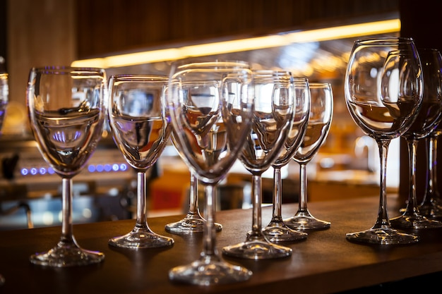 Beautiful new glasses for wine from glass Premium Photo