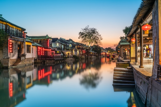 Beautiful night view of xitang ancient town Premium Photo