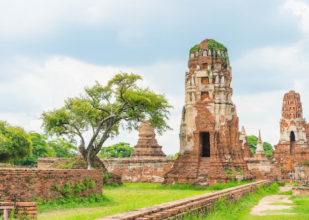 Beautiful old architecture historic of ayutthaya in thailand Free Photo