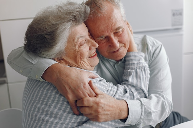 Beautiful old couple spent time together at home Free Photo