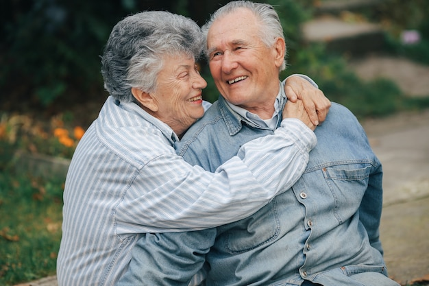 Beautiful old couple spent time together in a park Free Photo
