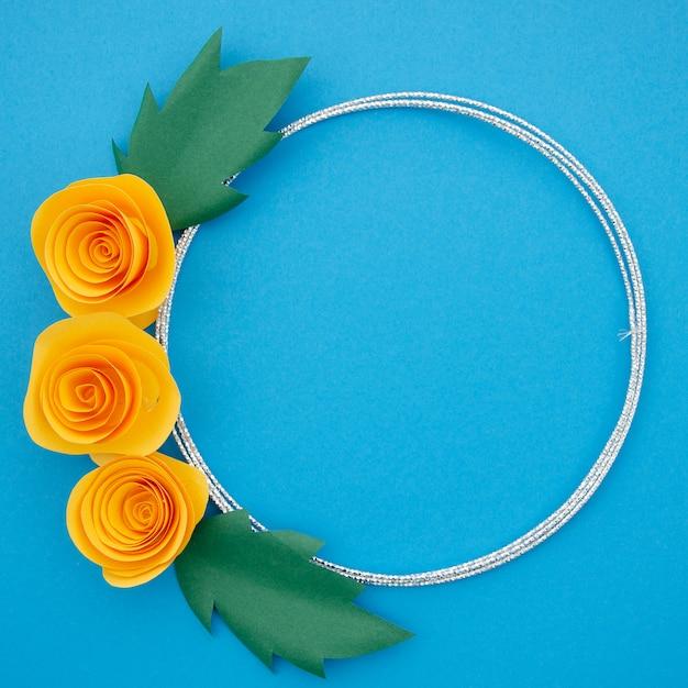 Beautiful ornamental frame with colorful orange flowers Free Photo