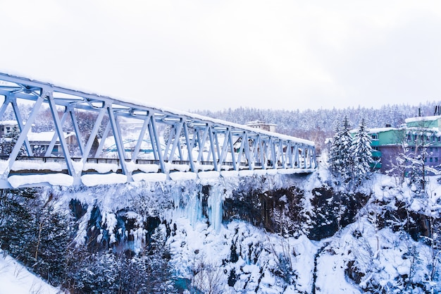 Beautiful outdoor nature landscape with shirahige waterfall and bridge in snow winter season Free Photo