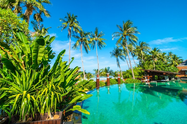 Beautiful outdoor swimming pool with coconut palm tree Free Photo