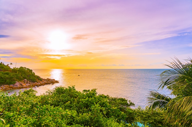 Beautiful outdoor tropical beach sea around samui island with coconut palm tree and other at sunset time Free Photo