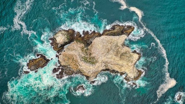 Beautiful overhead aerial shot of coral reefs in the middle of the ocean with amazing ocean waves Free Photo