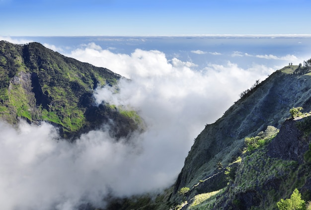 Beautiful panorama on the peak of mount rinjani Premium Photo
