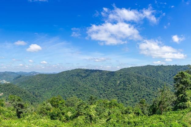 Beautiful panoramic mountain on blue sky background - panorama landscape thailand Free Photo