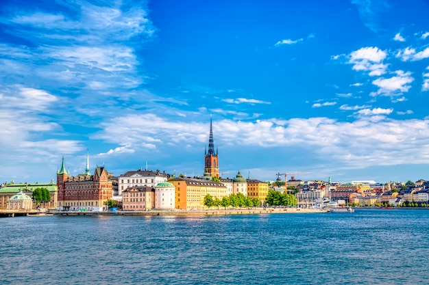 Beautiful panoramic view of stockholm old town gamla stan. summer sunny day in stockholm, sweden. Premium Photo