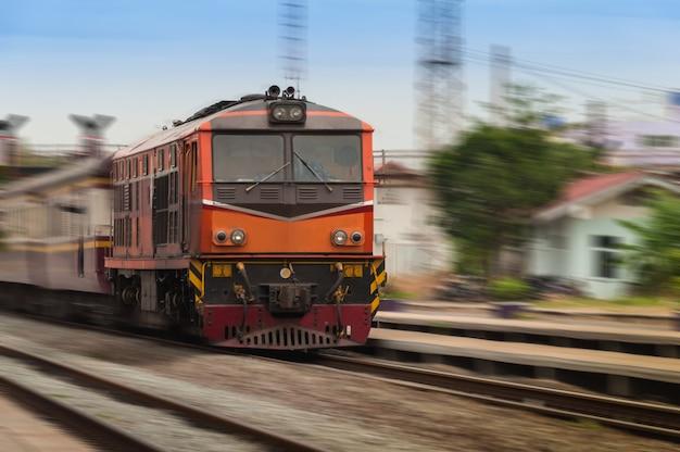 Beautiful photo of old diesel railcar, motion blur Premium Photo
