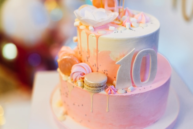Miraculous Beautiful Pink 10Th Birthday Cake With Flamingo Premium Photo Birthday Cards Printable Nowaargucafe Filternl