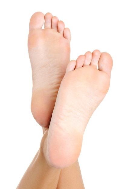 美しい純粋な手入れをされた女性の足とかかとは上向きに持ち上がりました。に分離 無料写真