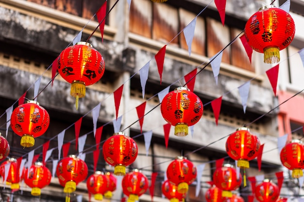 Beautiful red lantern decoration for chinese new year festival at chinese shrine ancient chinese art, the chinese alphabet blessings written on it,is a public place Premium Photo