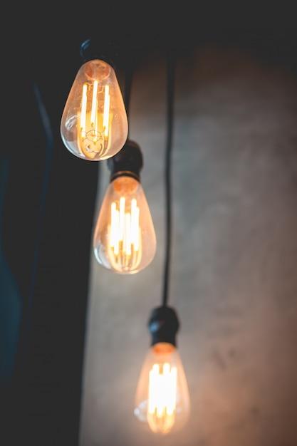 Beautiful retro classic light lamp decor glowing Premium Photo