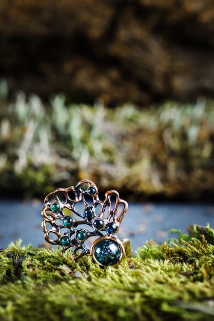 Beautiful ring with nature ornament Premium Photo