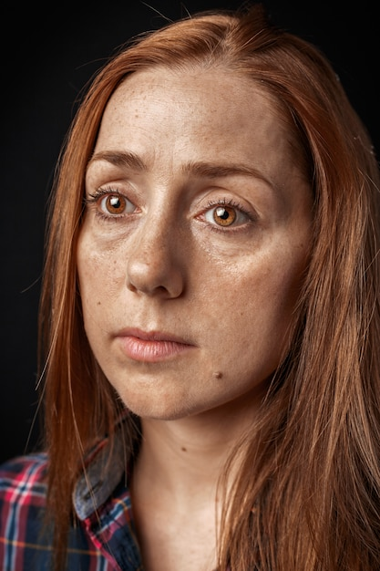 Beautiful and sad woman crying Premium Photo