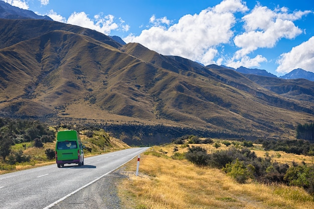 Beautiful scene of road to mt cook national park Premium Photo