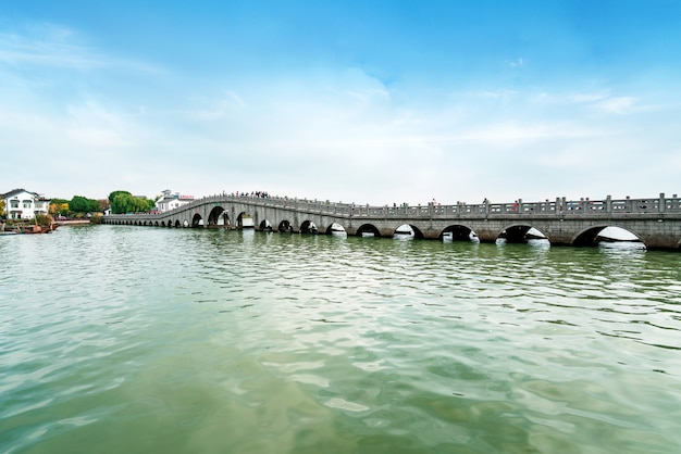Beautiful scenery on the ancient town of zhouzhuang, suzhou, china Premium Photo